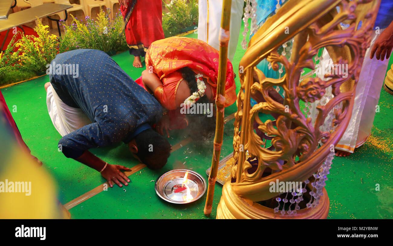 Asiatische Hochzeit Rituale, Zeremonie Stockbild