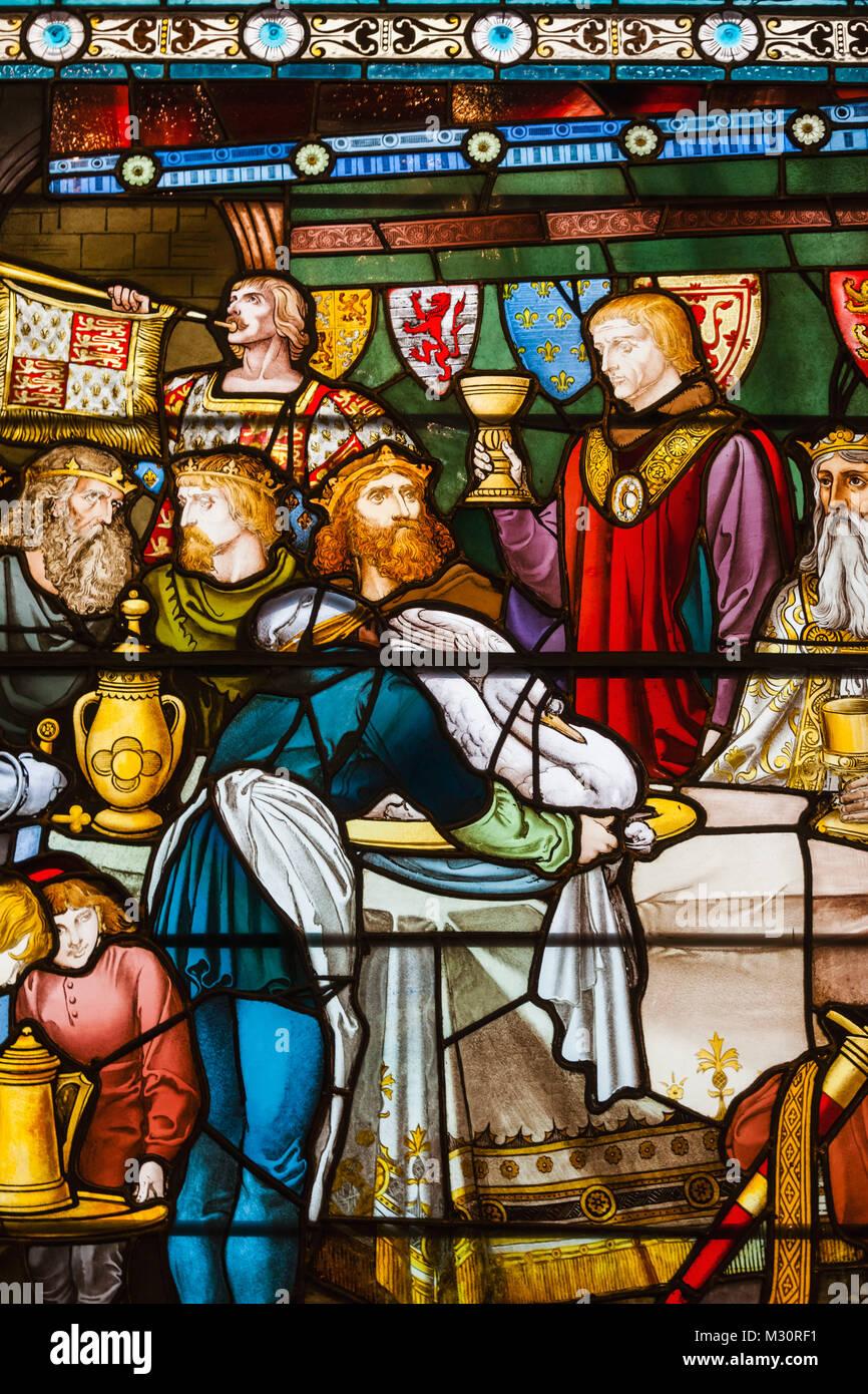 England, London, die Stadt, die VINTERS' Unternehmen, die VINTERS' Hall, Glasfenster Fest der fünf Stockbild