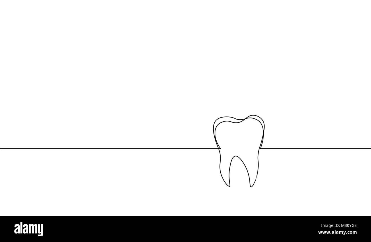 Eine durchgehende Linie kunst anatomischen menschlichen Zahn ...