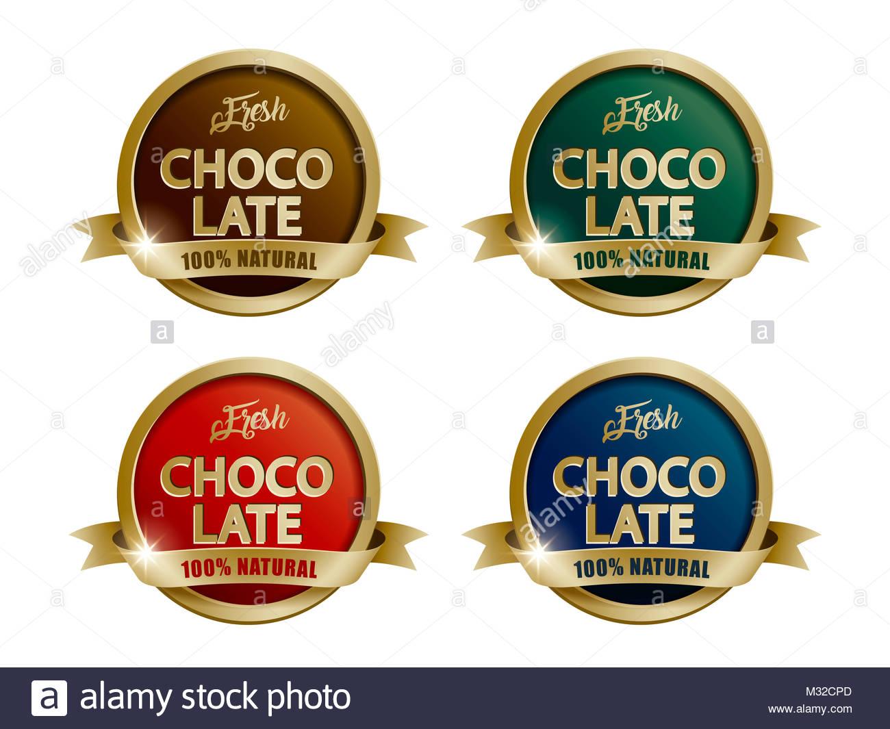 Frische Schokolade Labels, vier farbige Vorlagen mit goldenen Rahmen ...