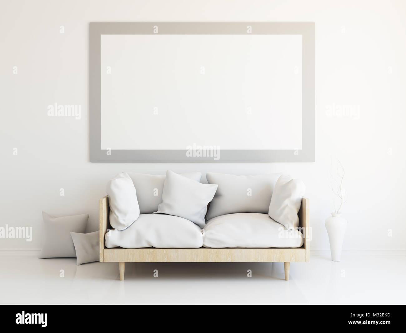 Innenraum mockup Illustration, 3D-Rendering des skandinavischen Stil ...