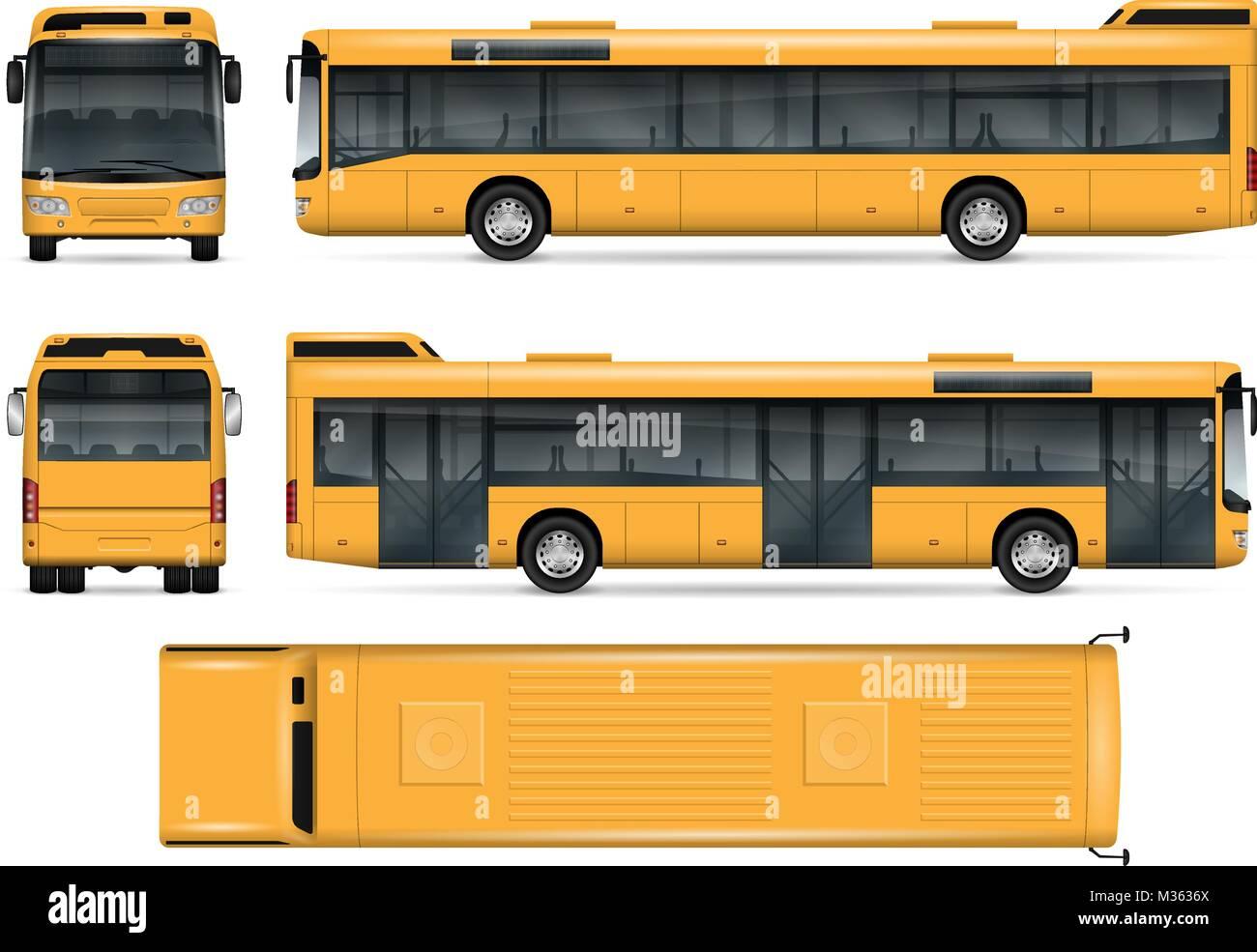 Bus vektor Mock-up. Isolierte Vorlage des Busses auf weißem ...