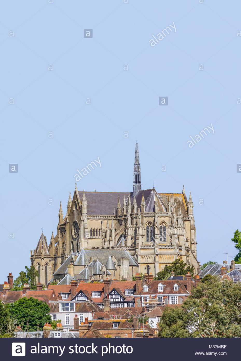 Arundel Kathedrale, eine römisch-katholische Kathedrale mit der Architektur im Stil von Gothic Revival in Arundel, Stockbild