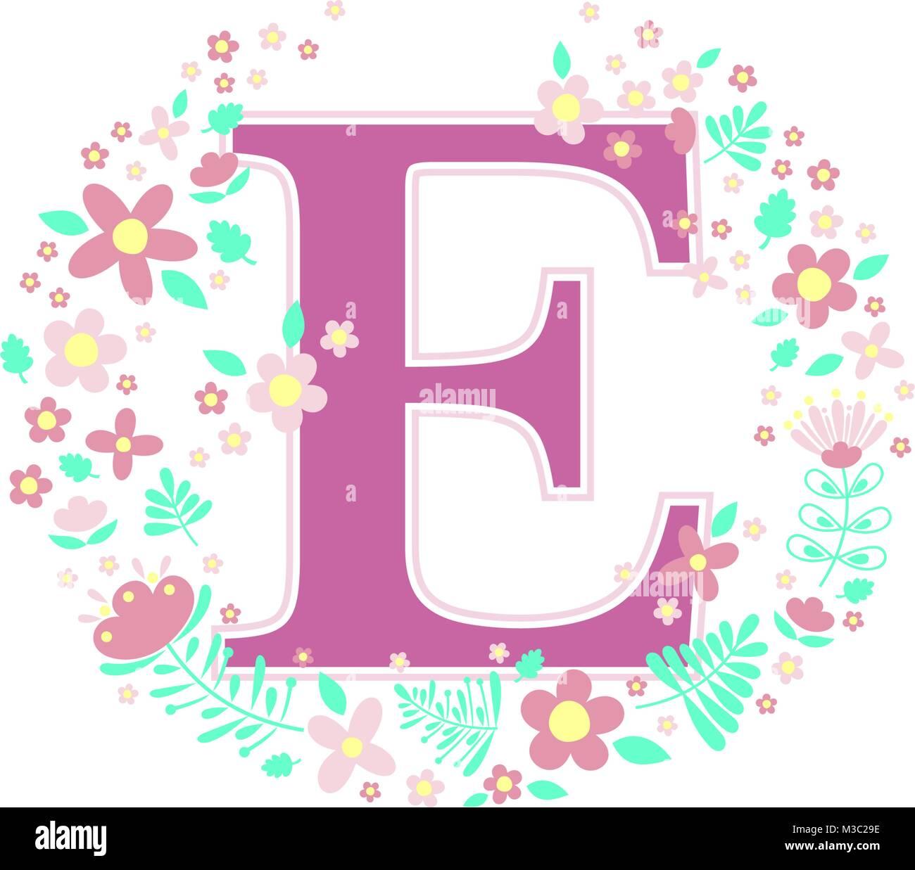 Kinderzimmer E Baby | Anfangsbuchstabe E Mit Dekorativen Blumen Und Designelemente Auf