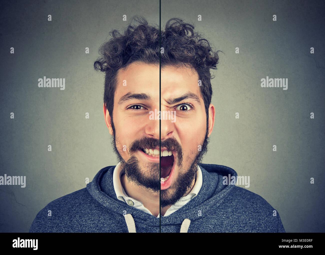 Bipolare Störung-Konzept. Junger Mann mit doppelten Gesichtsausdruck auf grauem Hintergrund isoliert Stockbild
