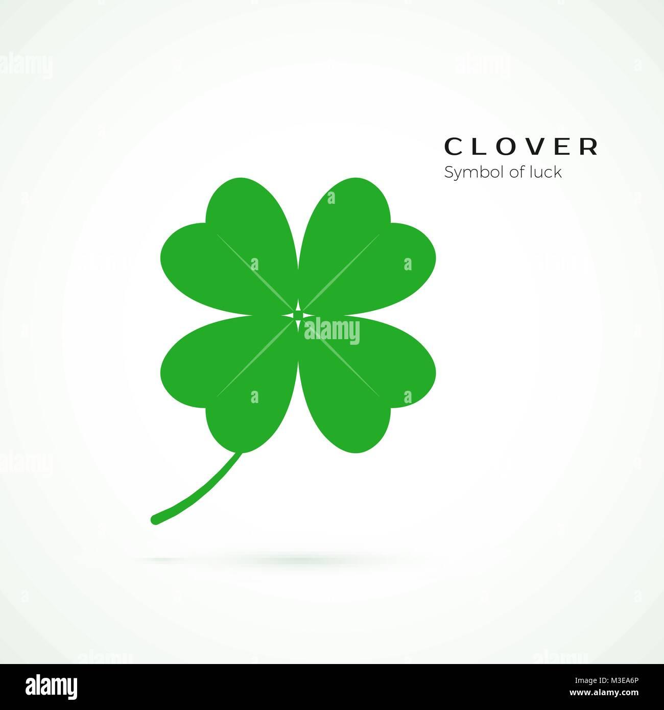 Four Leaf Clover Glück Symbol. Grünen Klee Symbol auf weißem Hintergrund. Symbol der St. Patrics Stockbild