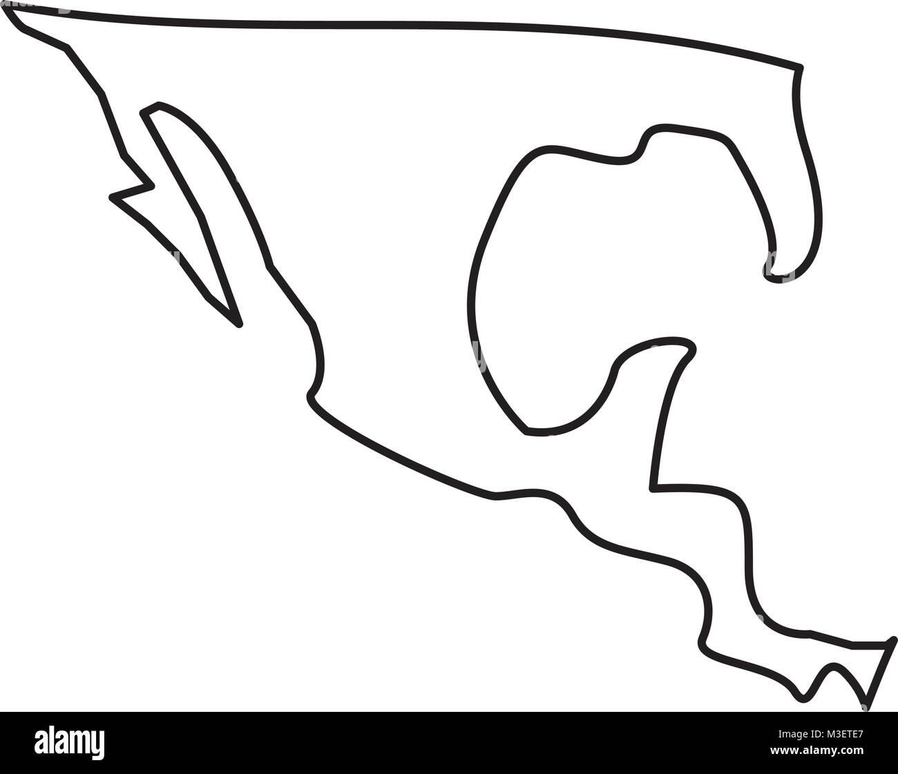 Mexiko Karte Umriss.Silhouette Karte Von Mexiko Land Vektor Abbildung Bild