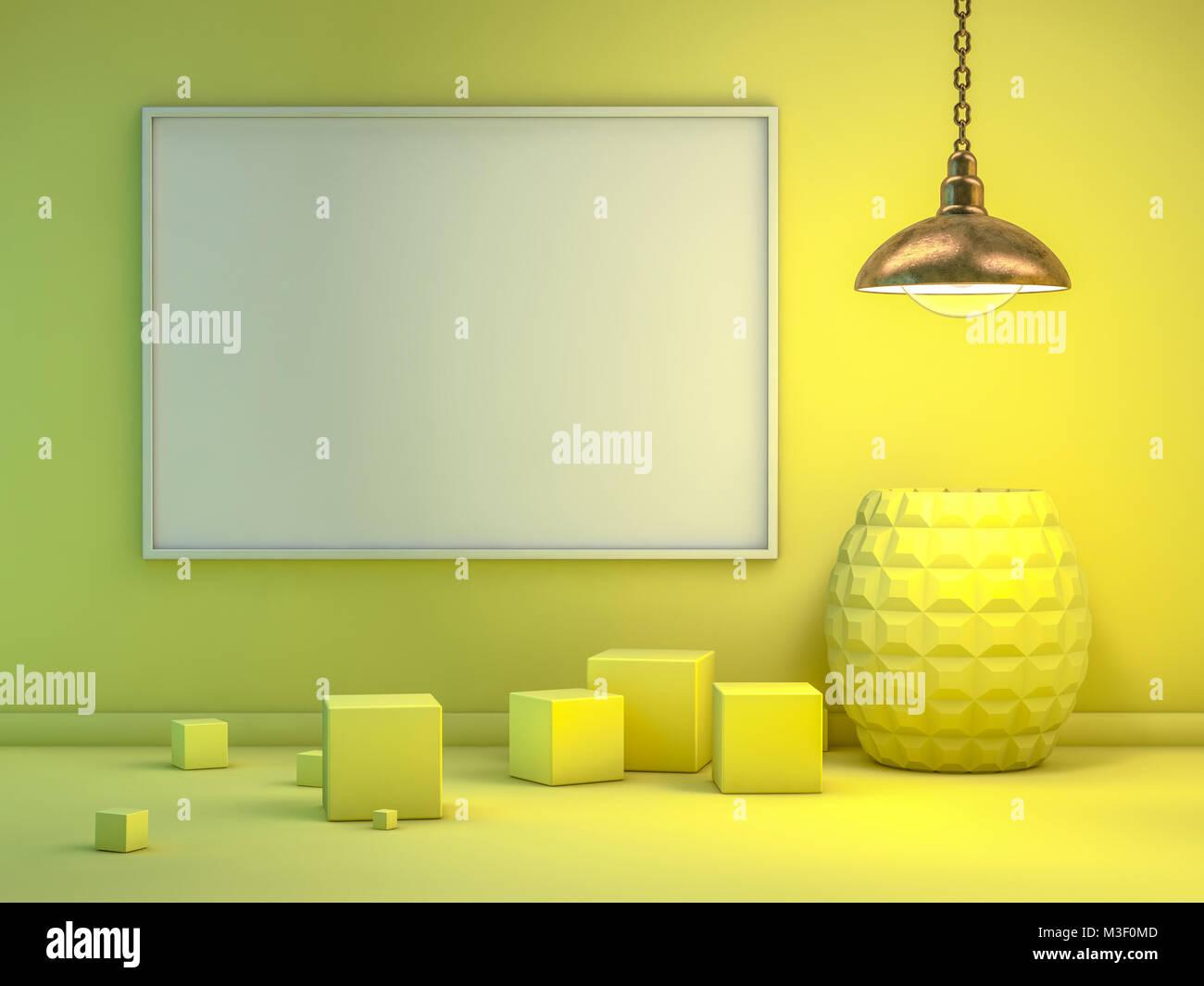 Poster mit Rahmen Mockup im Inneren. 3D-Rendering Stockfoto, Bild ...