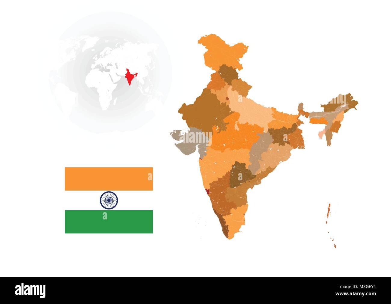 Karte Von Indien Mit Flussen Und Seen Die Flagge Von Indien