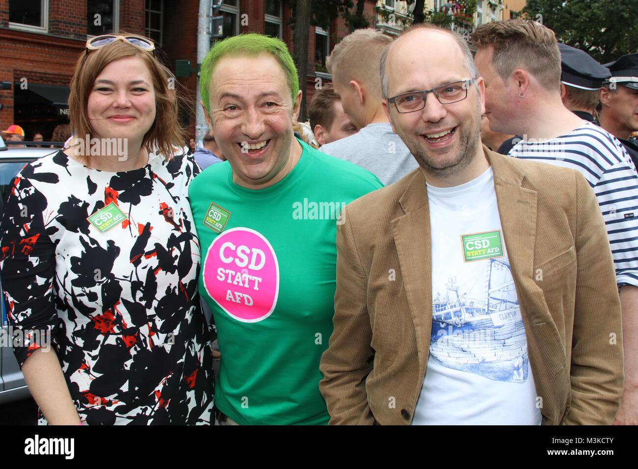 Katharina Fegebank, Farid Müller, Till Steffen, Start des CSD (Christopher Street Day) Umzuges, Lange Reihe Hamburg,Stockfoto