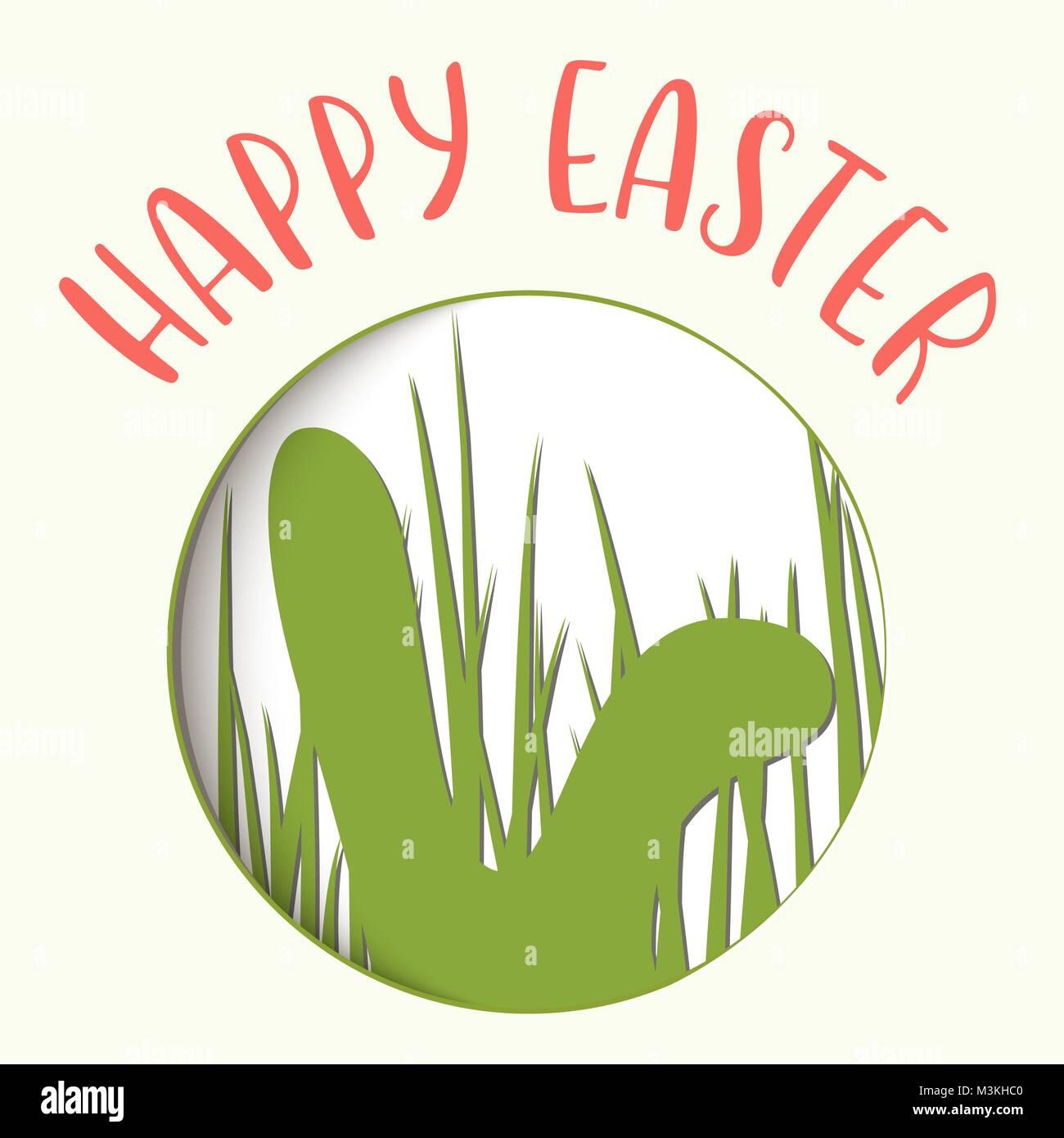 Frohe Ostern. Ostern Abzeichen mit Kaninchen Ohren Silhouette in ...