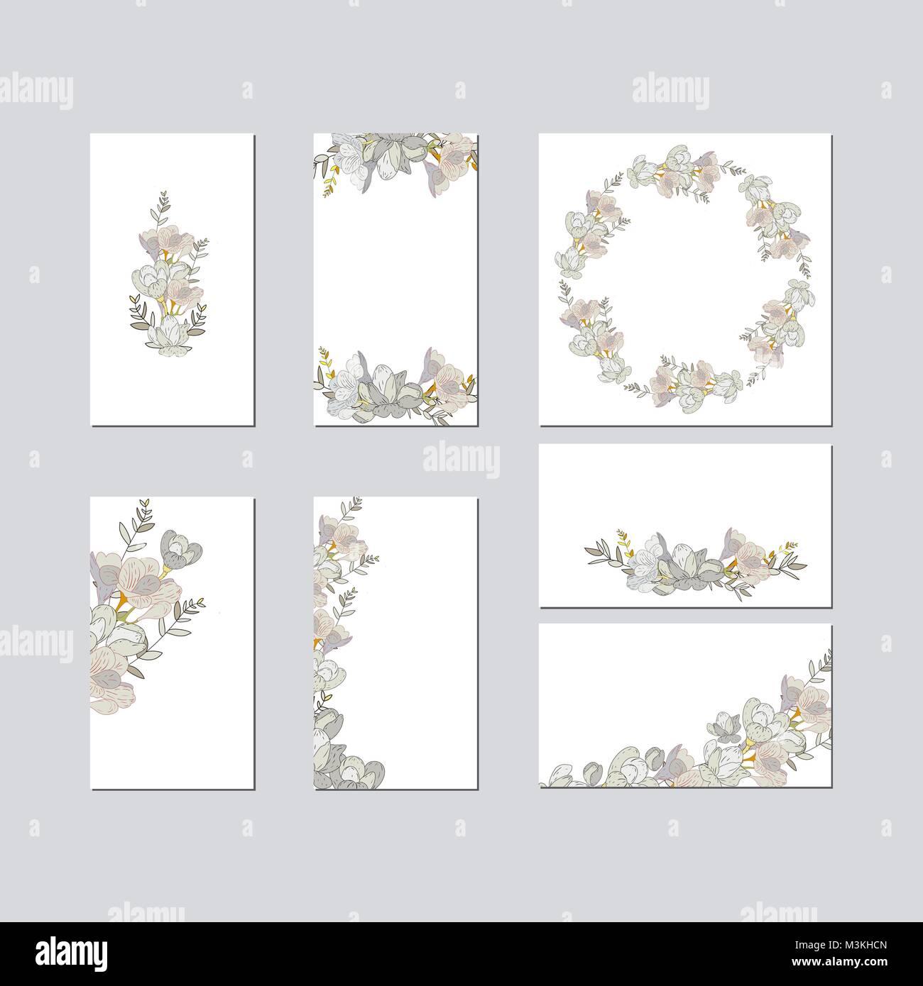 Bunte Begrüßung hochzeit einladung Karte Abbildung. Blume vektor ...