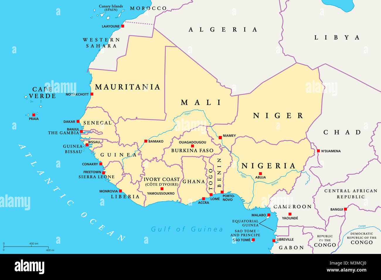 Afrika Karte Staaten.Region Westafrika Politische Karte Bereich Mit Kapitellen Und