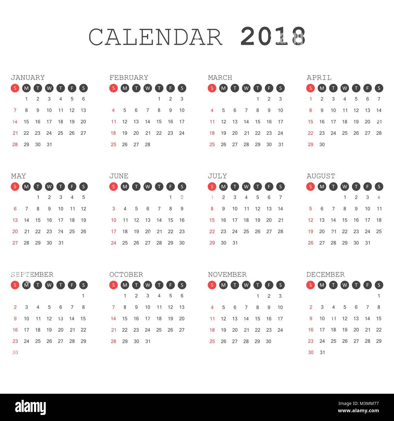 Kalender 2018 Jahr in einem einfachen Stil. Kalender Planer design ...