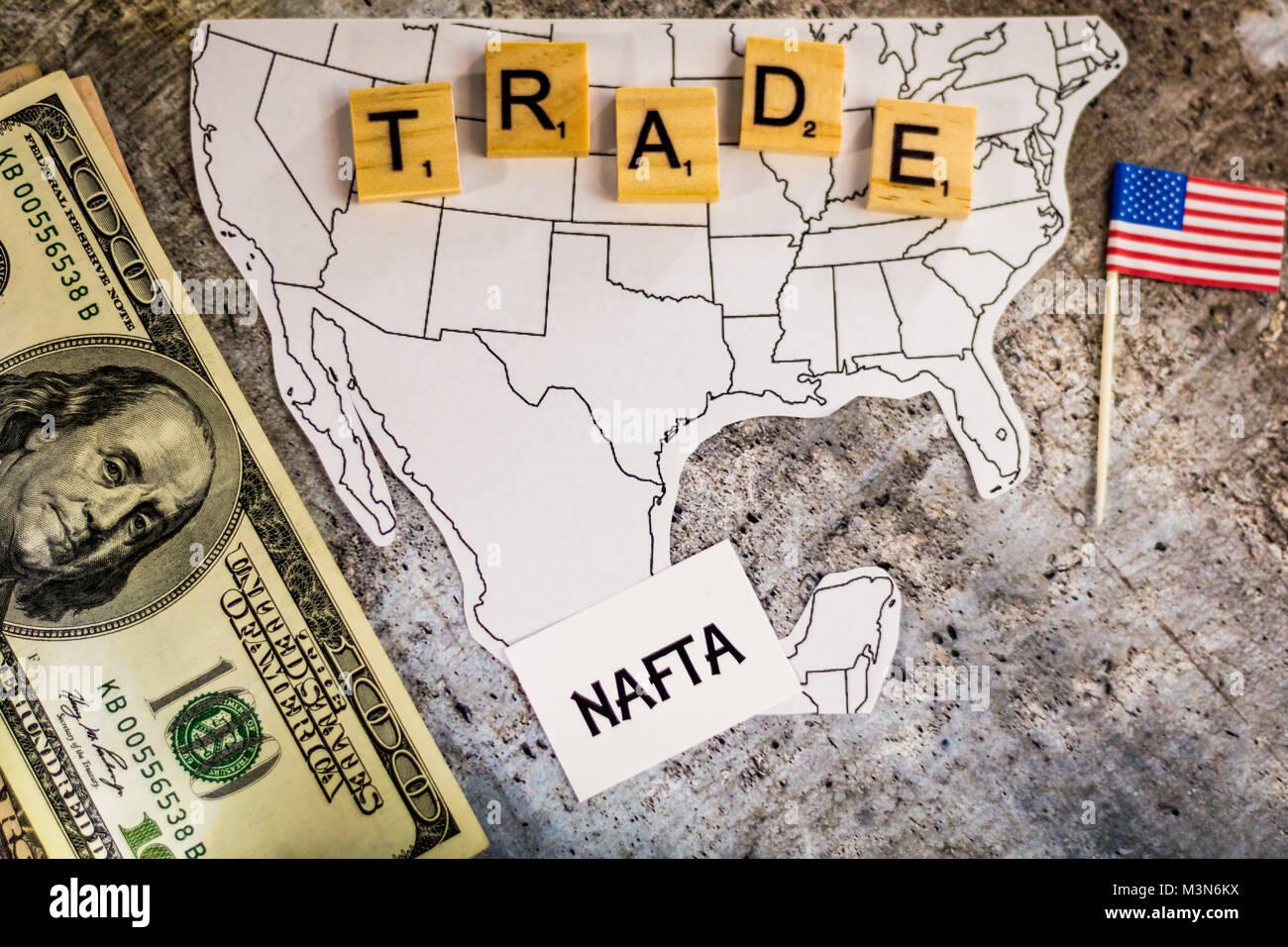 Mexiko Staaten Karte.Nafta Handel Business Konzept Mit Den Vereinigten Staaten
