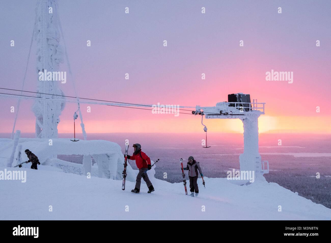 Das Skigebiet Ruka in Finnland Stockbild