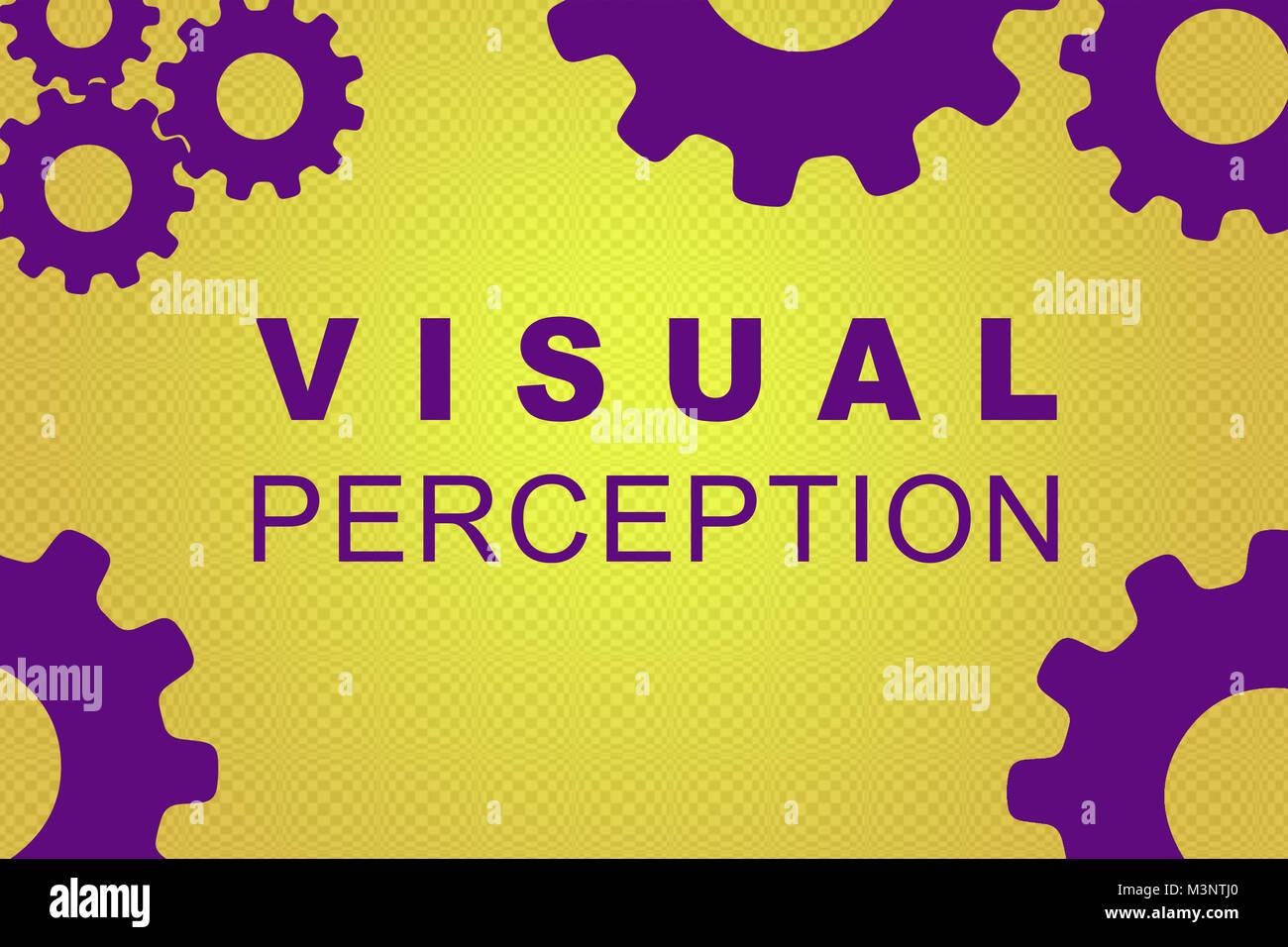 Visuelle Wahrnehmung sign Konzept Abbildung mit violett Zahnrad Zahlen auf Gelb Gradienten Stockbild