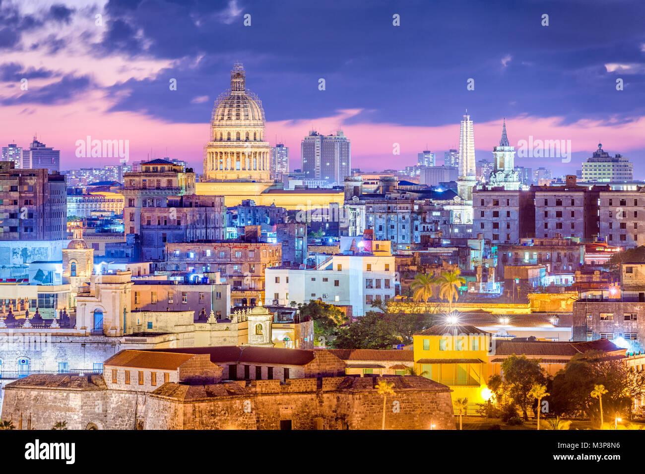 Havanna, Kuba Downtown Skyline. Stockbild