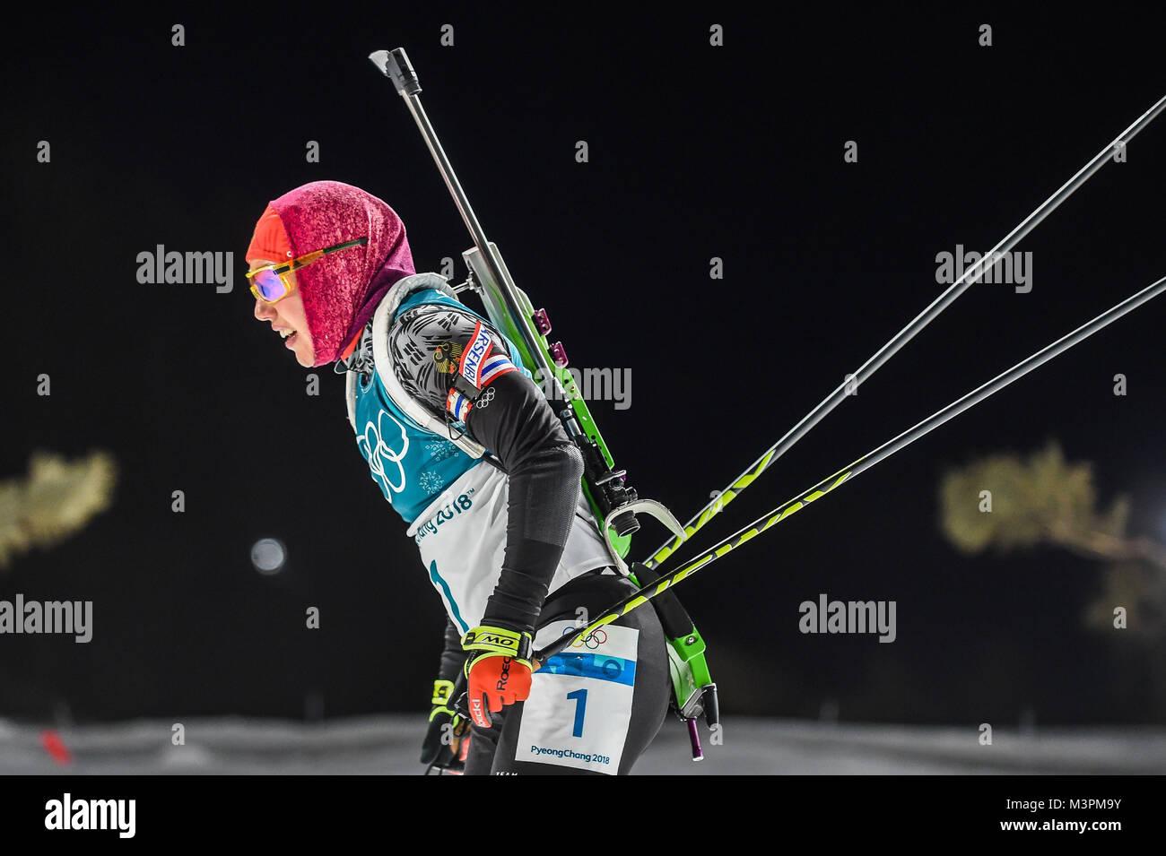 Pyeongchang, Südkorea. Februar 12, 2018: Laura Dahlmeier von Deutschland bei Frauen 10 km Verfolgung, Biathlon Stockbild