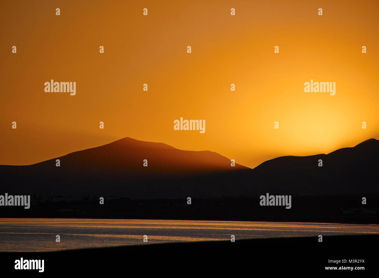 Sonnenuntergang in Arrecife, Lanzarote Stockbild