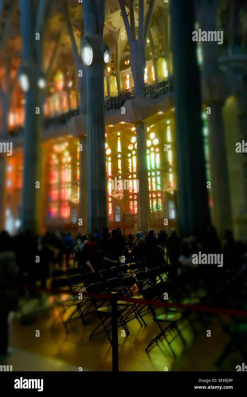 Die Sagrada Familia, die Kathedrale von Barcelona. Der Tempel des Lichts, moderne Symbol. Eine Kathedrale einzigartig Stockbild