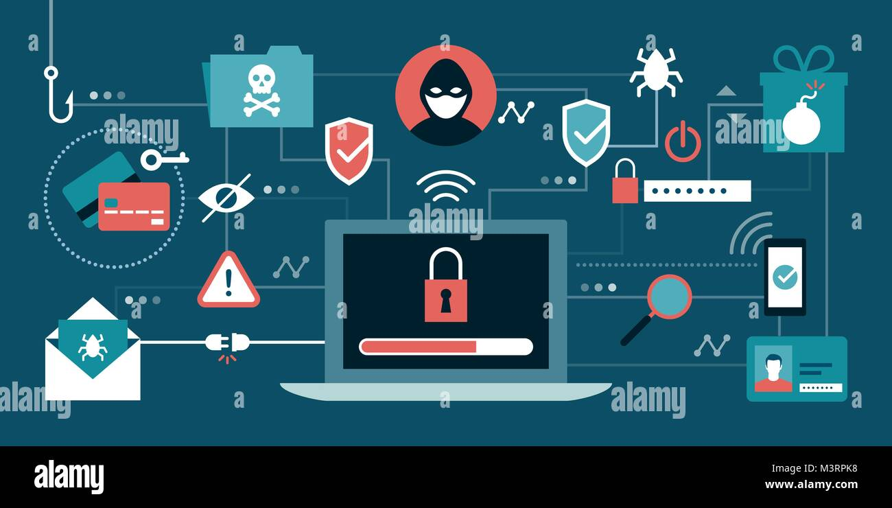 Cyber Security, Antivirus, Hacker und Malware Konzepte mit sicheren Laptop in der Mitte Stockbild