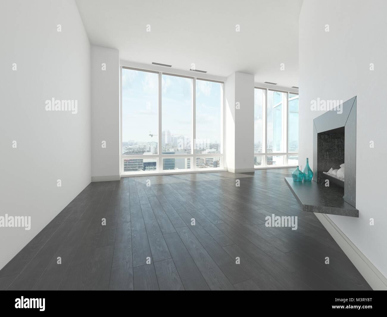 Bare unmöblierte eckigen Wohnzimmer mit weißen Wänden mit einer ...