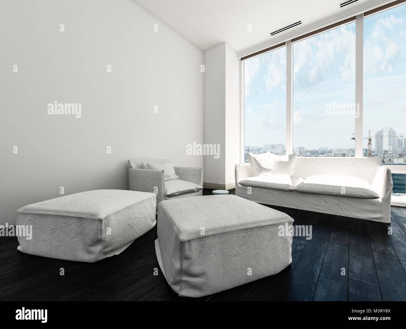 Bequeme minimalistischen schwarzweiß weiß wohnzimmer mit einem sofa