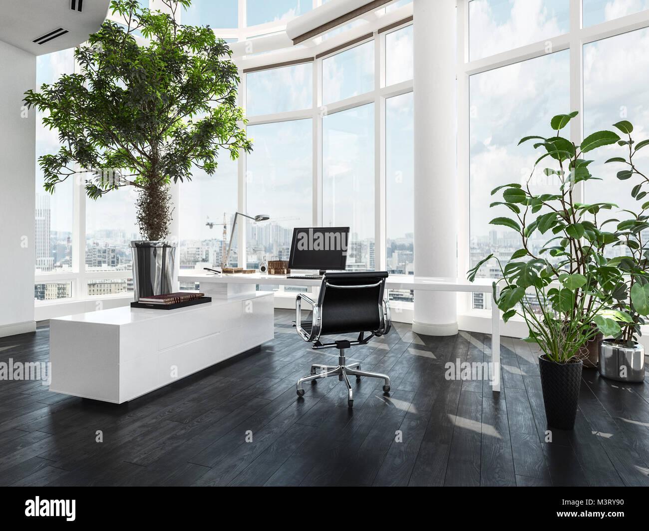 Moderner Luxus Büro Interieur in einem Pent House mit geschwungenen ...