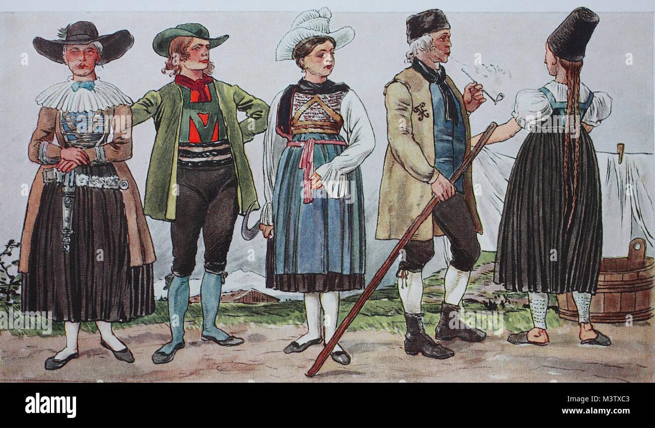 mode, trachten, kleidung in italien und Österreich um 1850