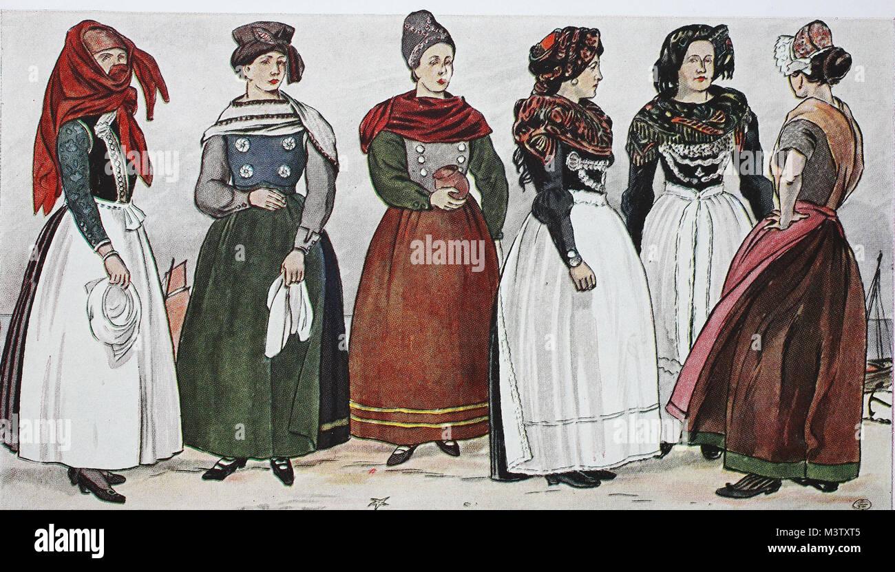 mode, kleidung in deutschland, kostüme der halligen und