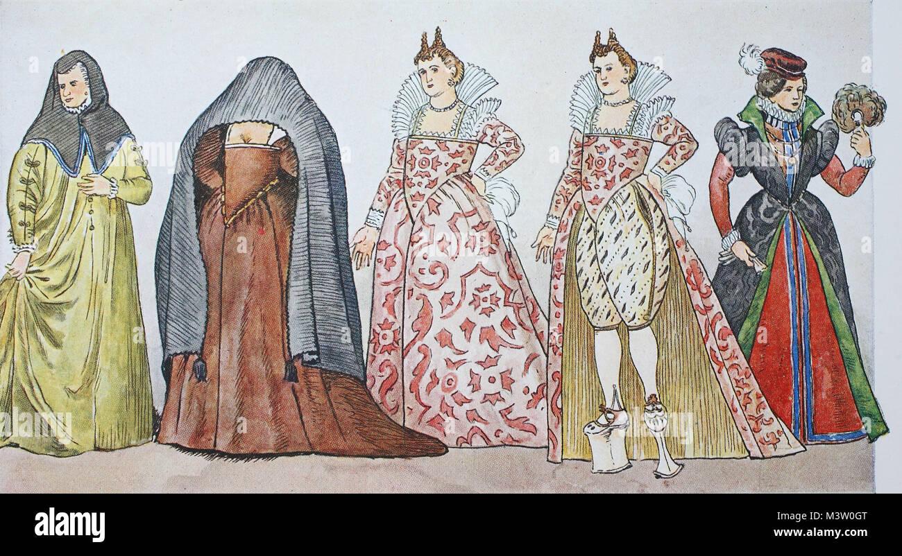 Mode Trachten Kleidung In Italienisch Unter Der Spanischen Mode Um 1590 1610 Von Links Romische Kurtisane Um 1590 Beachtlich Elegant Unverheiratete Venezianischen In Veiling Strasse Kleidung Um 1590 Sobald Die Kurtisane In Schwerer