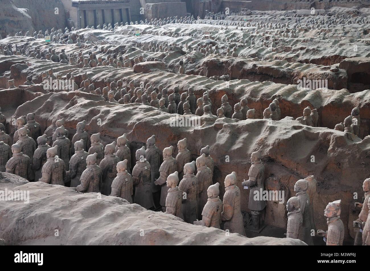 Terracotta Krieger alten Armee bewacht das Grab des Kaisers Xi'an China Stockbild