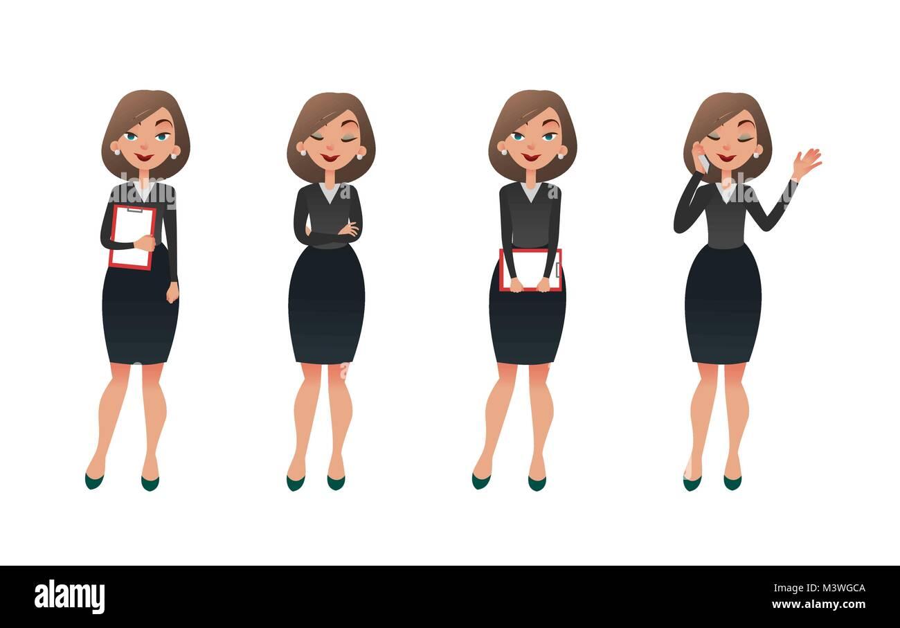 Zeichensatz Geschäftsfrau In Verschiedenen Posen Cartoon Vektor