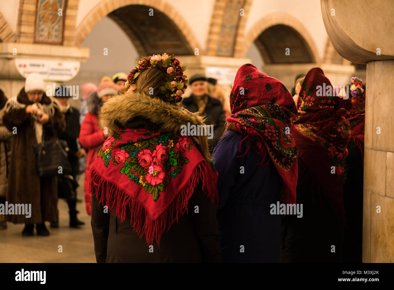 Kiew, Ukraine - 14 JAN: Die jungen Mädchen in der Ukrainischen ...
