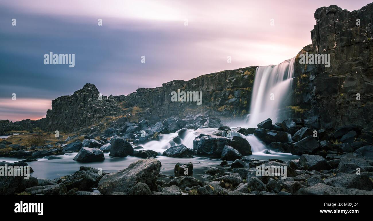 Schönen Wasserfall Oxarafoss im südlichen Island Europa Stockbild