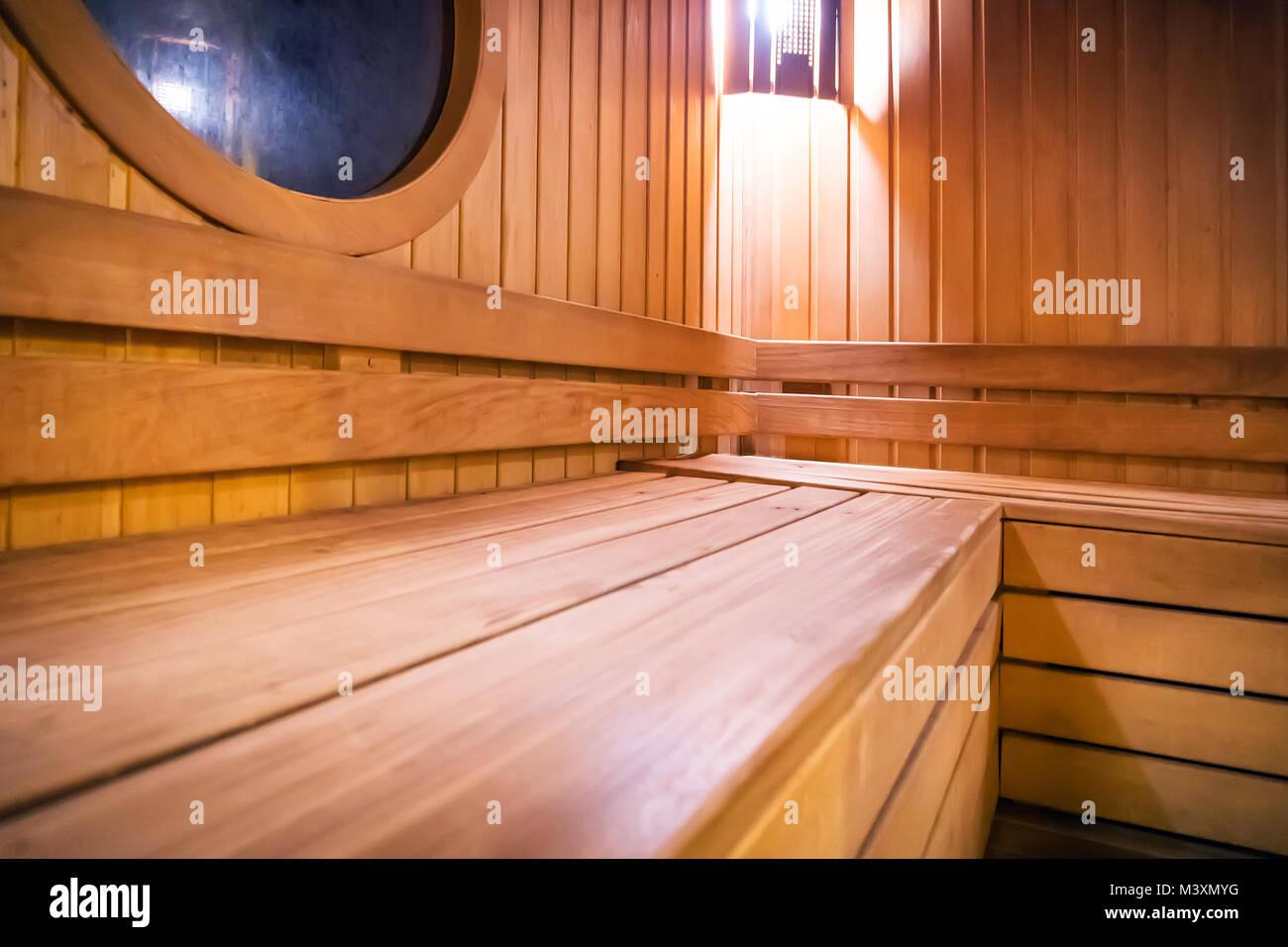 Holz- russische Badehaus sauna Bänke im Krankenhaus Aufenthaltsraum ...