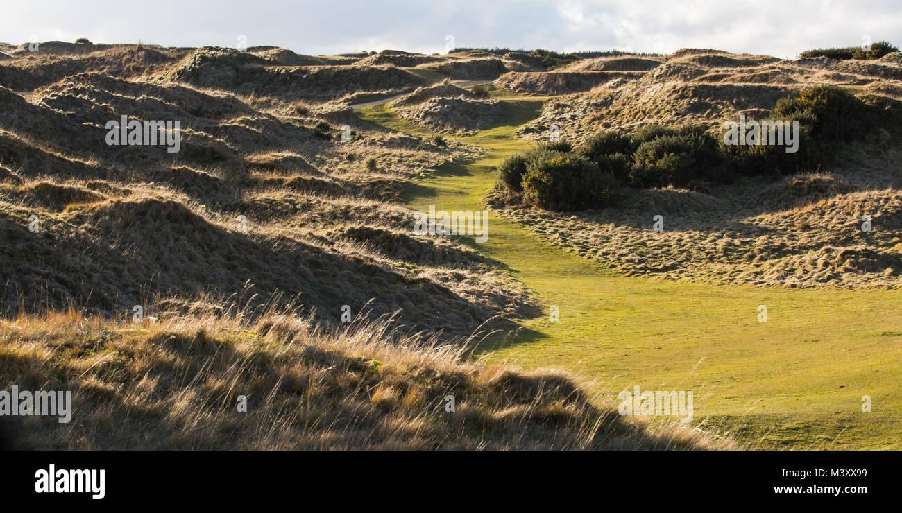 Die grasbewachsenen Dünen auf das Schloss Golfplatz St. Andrews. Der Golfplatz ist mit Blick auf die St. Andrews Stockbild