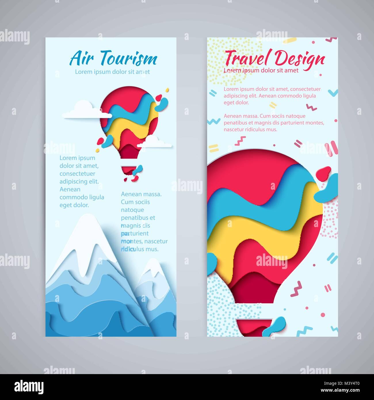 Travel Design Flyer Vorlage Set Paper Art Konzept Der Heißluftballon In Den  Himmel Mit Wolken über Die Berge. Vektor Reisen Origami Papier Schneiden ...