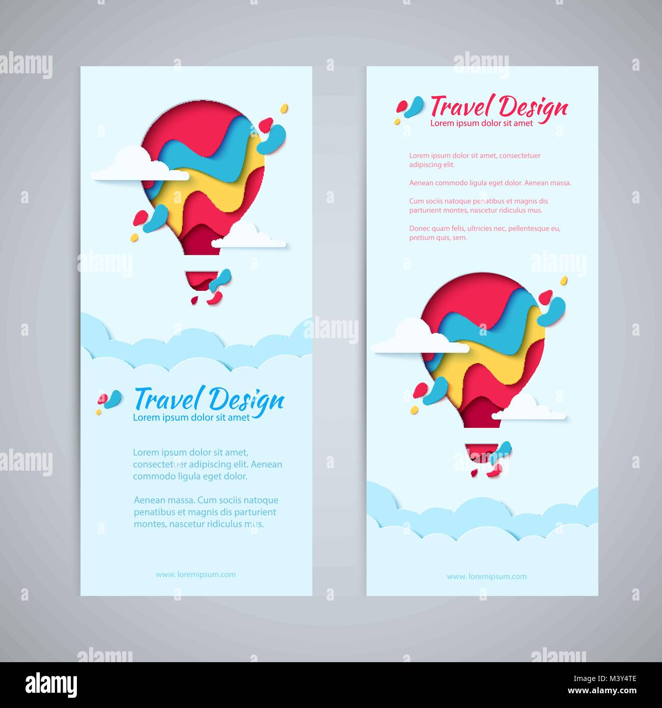 Travel Design Flyer Vorlage Set Paper Art Konzept Der Heißluftballon In Den  Himmel Mit Wolken. Vektor Reisen Origami Papier Schneiden Vertikale Banner  ...