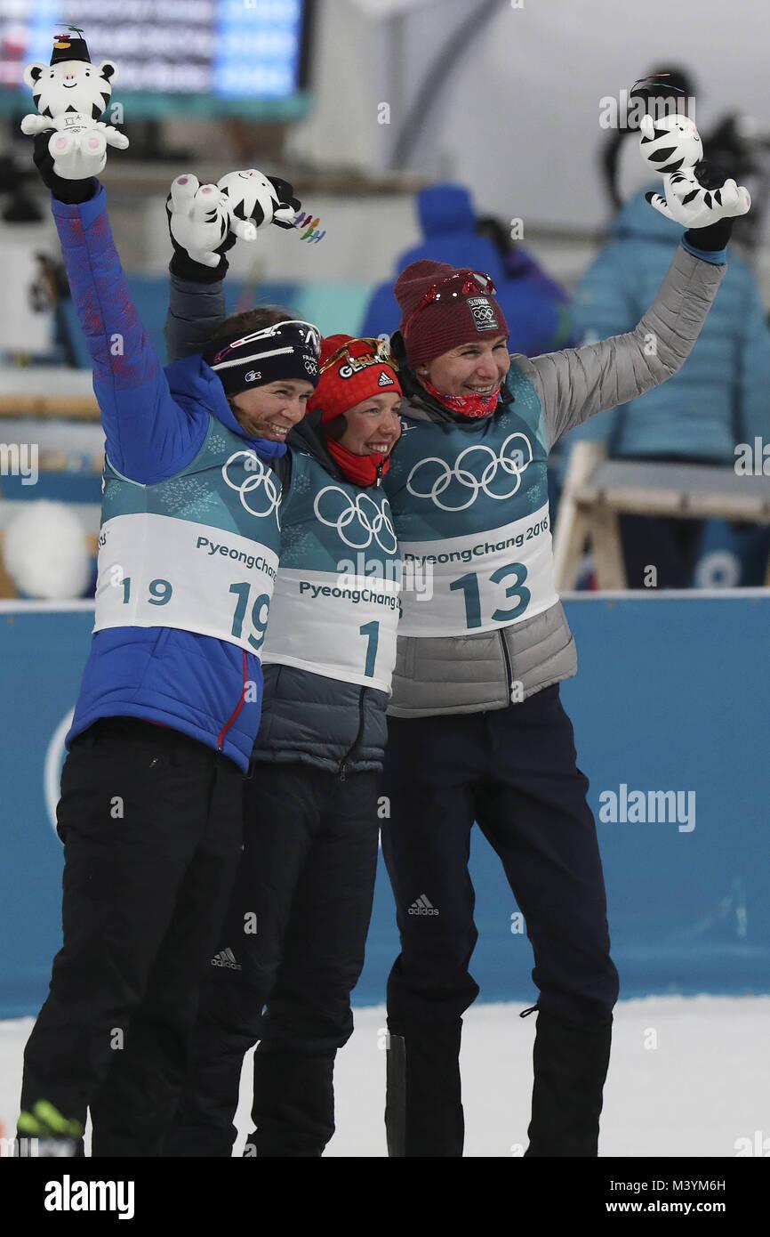 Pyeongchang, Südkorea. 12 Feb, 2018. Feb 12, 2018 - Pyeongchang, South Korea-Anais BESCOND von Frankreich, Stockbild