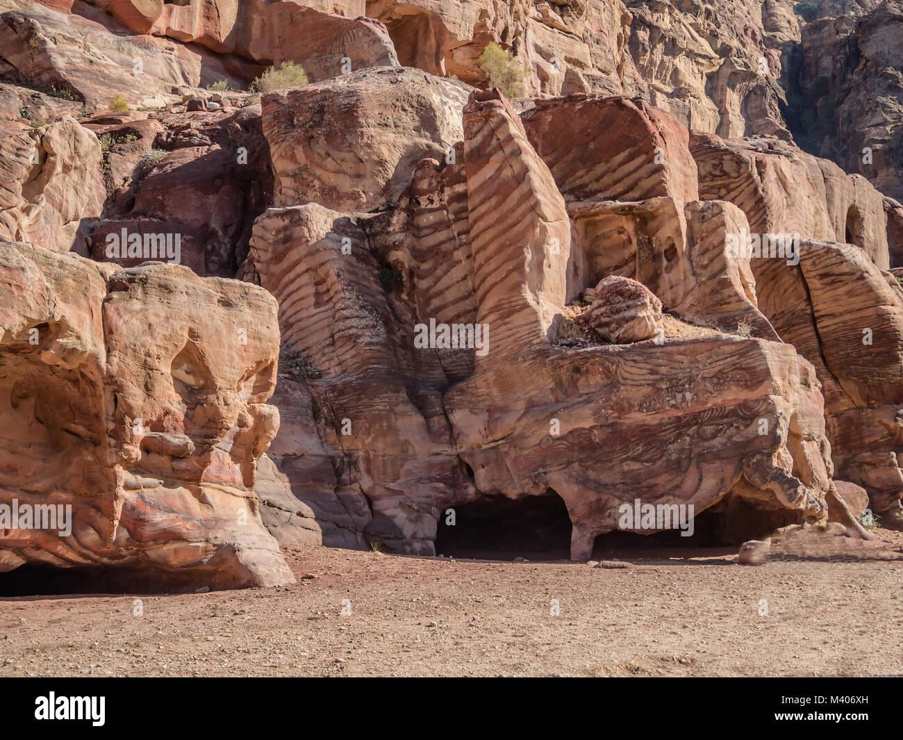 Wohnungen Wohnungen in Petra verlorene Stadt in Jordanien Stockbild