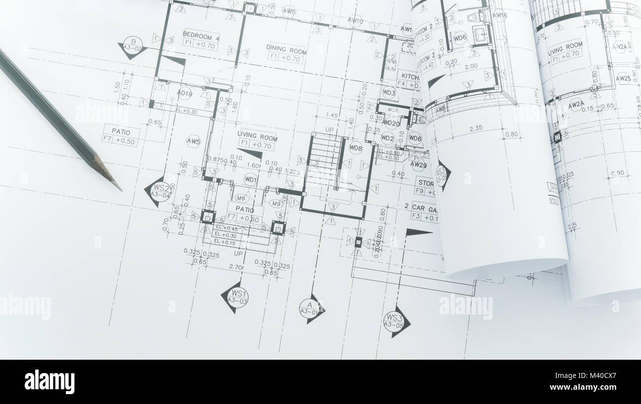 Architekten Arbeitsplatz   Architekturentwürfe Mit Maßband, Schutzhelm Und  Tools Auf Tisch. Top View Stockbild