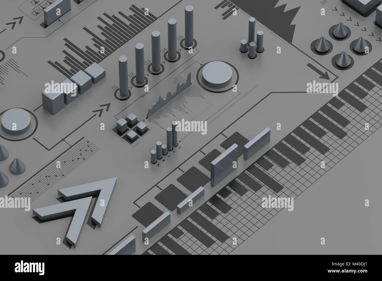 3d-infografik Hintergrund, Geschäftskonzept. 3D-Darstellung Stockbild