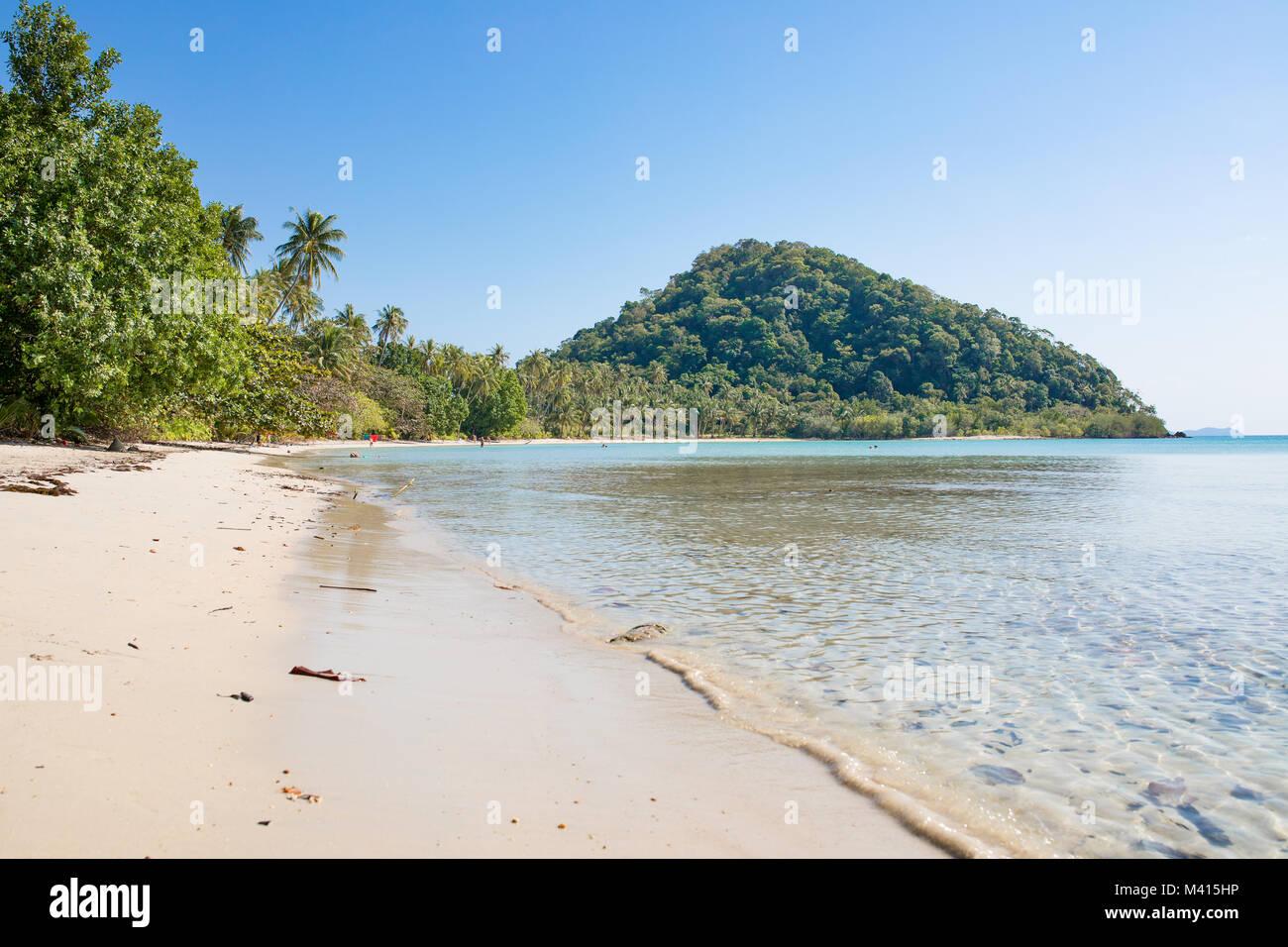 Panoramablick auf die Küste, Bananen, Palmen und Regenwald Pflanzen, Berge und blaues Meer. Natur in Asien. Stockbild