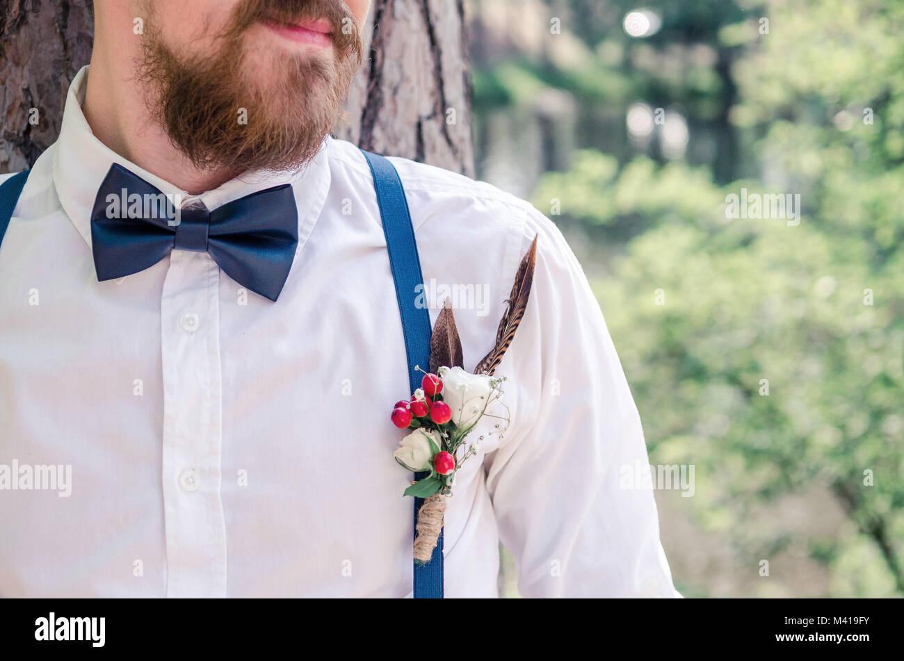 Der Mann Mit Der Fliege Hochzeit Anstecker Stockfoto Bild
