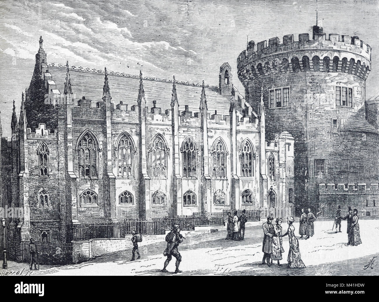 Die königliche Kapelle im Schloss von Dublin in Irland. Der neugotischen Kirche wurde 1814 geweiht und vom Stockbild