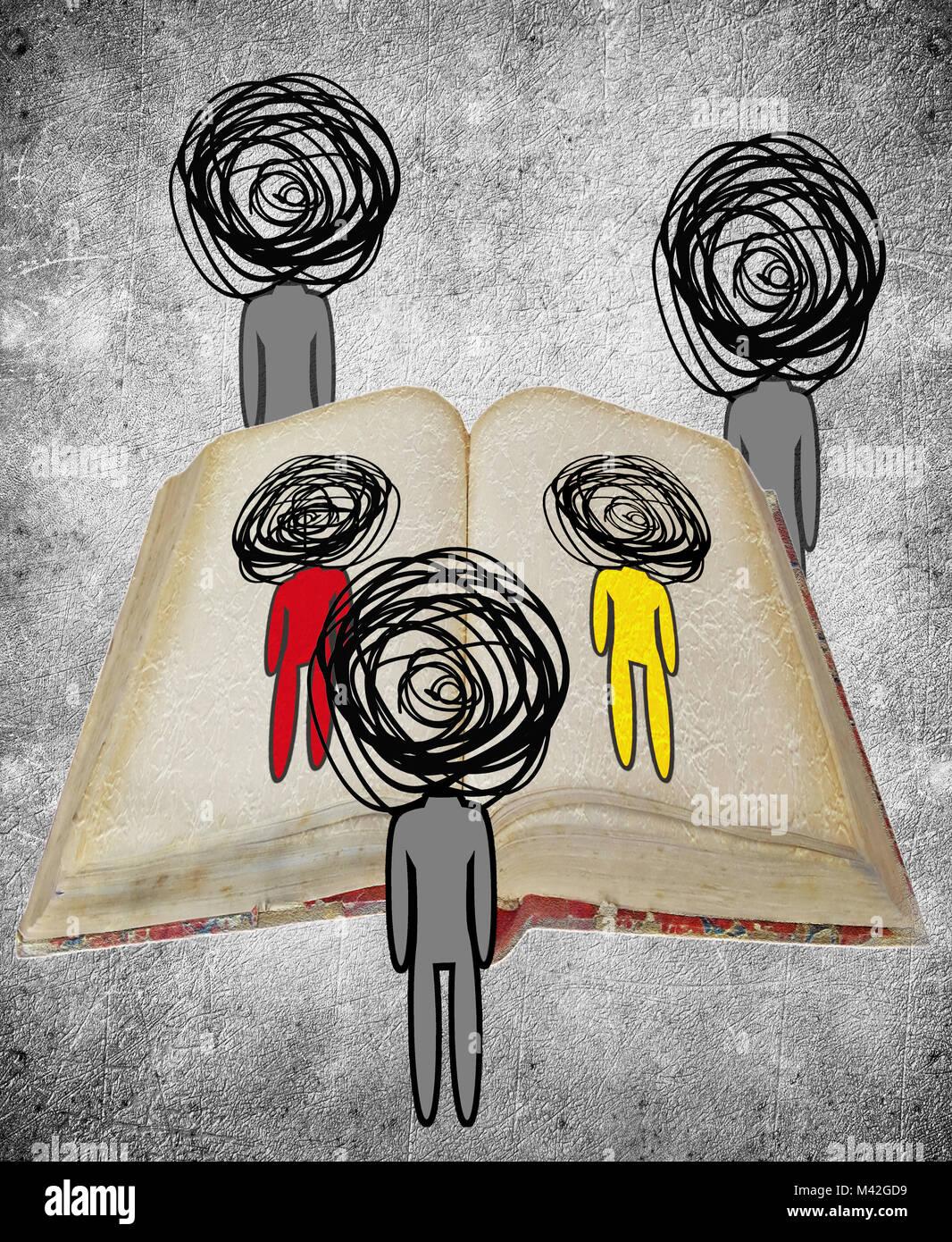 Drei menschliche Figuren beobachten ein Buch wissen Konzept digitale Illustration Stockbild