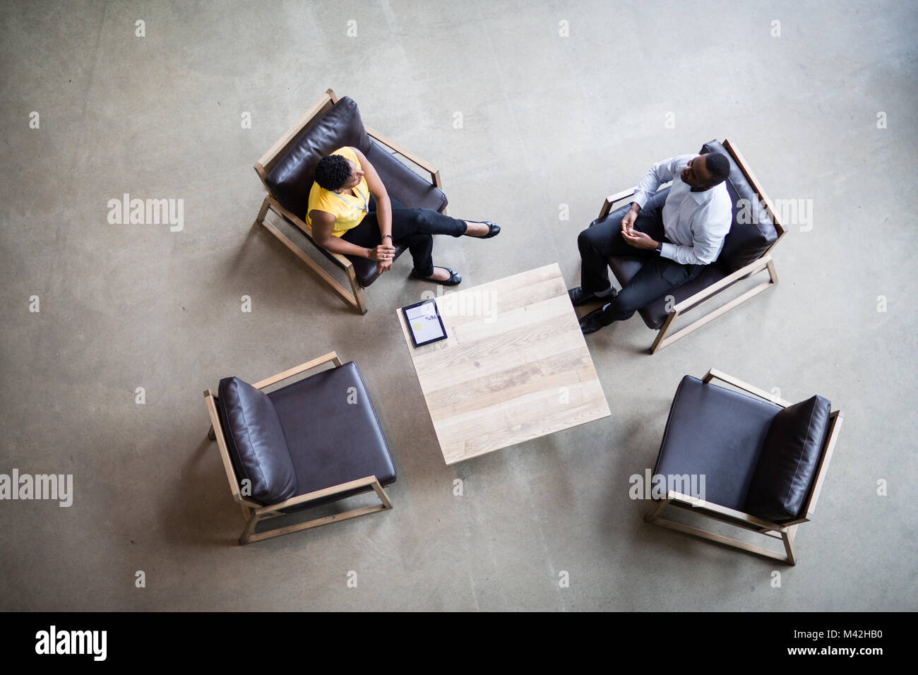Overhead shot eines business meeting Stockbild