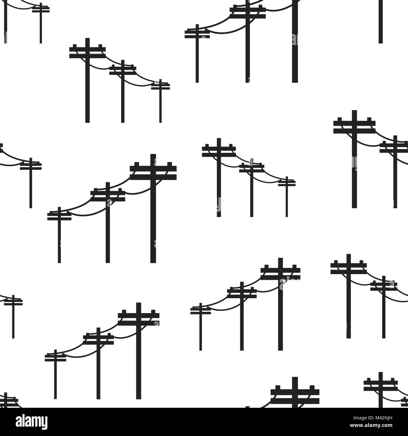 Hochspannungsleitungen nahtlose Muster Hintergrund. Business Flat ...